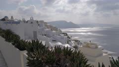 White buildings in village of Oia in Santorini, Greece, Europe