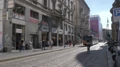 Cable car on Via Giuseppe Mazzini in Milan, Italy, Europe