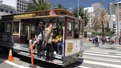 Cable car at Union Square in San Francisco, USA, North America