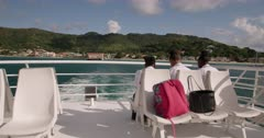 From the top deck of the Osprey Ferry, looking back at Carriacou, Grenada, West Indies, Caribbean, Central America