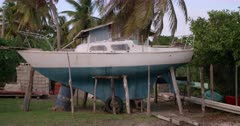 Boat in dry dock, Windward, Carriacou, Grenada, West Indies, Caribbean, Central America
