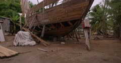 Traditional sloop boat being constructed, Windward, Carriacou, Grenada, West Indies, Caribbean, Central America