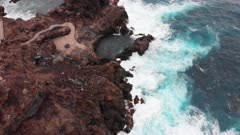 Drone aerial view of natural swimming pool in Tenerife, Canary Islands, Spain, Atlantic, Europe