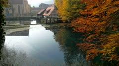 Water Mill at Blautopf Spring, Blaubeuren, Swabian Alb, Baden-Wurttemberg, Germany, Europe