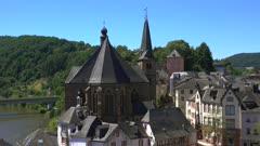 Old Town with Parish Church of St Lawrence (Laurentius), Saarburg an der Saar, Rhineland-Palatinate, Germany, Europe
