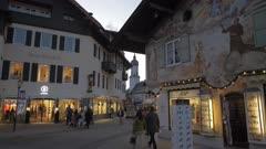 Parish Church of St. Martin and Christmas Market dusk, Garmisch-Partenkirchen, Bavaria, Germany, Europe