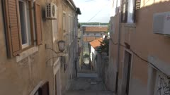 Narrow street in old town, Pula, Istria County, Croatia, Adriatic, Europe