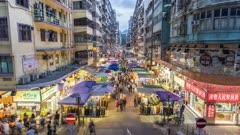 Time lapse of street market in Mong Kok at dusk, Kowloon, Hong Kong, China, Asia
