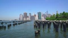 Manhattan skyline from Brooklyn Bridge Park, New York City, New York, United States of America, North America