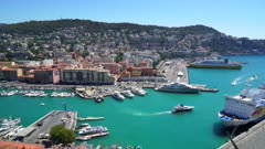 High view over Port Lympia, Nice, Alpes Maritimes, Provence-Alpes-Cote d'Azur, French Riviera, France, Mediterranean, Europe