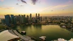 Singapore skyline from Marina Bay, day to night time lapse, Singapore, Southeast Asia, Asia
