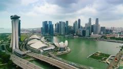 Time lapse of traffic on Benjamin Sheares Bridge to Marina Bay Sands Hotel, Singapore, Southeast Asia, Asia