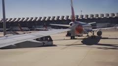 View from aeroplane landing taken out of airplane window, Madrid, Spain, Europe