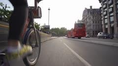 Santander city bike riding near Big Ben and Houses of Parliament, London, England, United Kingdom, Europe