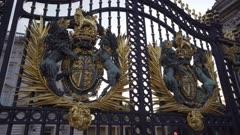 Detail of gates, Buckingham Palace, London, England, United Kingdom, Europe