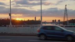 Sunset over Battersea Park from Chelsea Bridge, London, England, United Kingdom, Europe