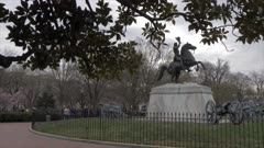 View of the White House from Lafayette Square, Washington DC, United States of America, North America