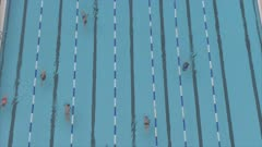 Shot of swimmers from elevated position, Gordon Pool, Tel Aviv, Israel, Middle East