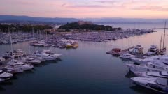 Antibes Harbour at sunrise, Alpes-Maritimes, Provence-Alpes-Cote d'Azur, France, Europe