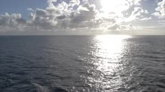 Generic shot of sun sparkling on Caribbean Sea from moving cruise ship, West Indies, Caribbean, Central America