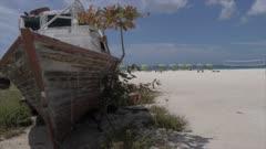 Boat wreck on Carlisle Beach, Bridgetown, Barbados, West Indies, Caribbean, Central America