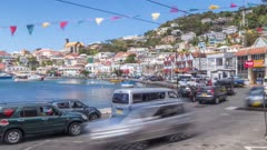 Time Lapse of traffic on the Carenage of St. George's, Grenada, Windward Islands, West Indies, Caribbean, Central America