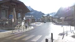 View of town centre of Canazei on sunny day at Christmas, Province of Trento, Trentino-Alto Adige/Sudtirol, Italy, Europe