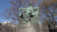 Goethe statue against blue sky in winter, Vienna, Austria, Europe