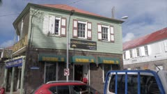 Traffic and Berkeley Memorial, Basseterre, St. Kitts, St. Kitts and Nevis, Leeward Islands, West Indies, Caribbean, Central America