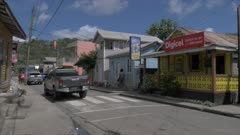 Onboard taxi shot travelling through Canaries town, St. Lucia, Windward Islands, West Indies, Caribbean, Central America