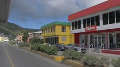 Onboard taxi shot through Road Town, Tortola, British Virgin Islands, West Indies, Caribbean, Central America
