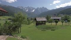Drinking trough and countryside at Gosau, Upper Austria region of the Alps, Salzkammergut, Austria, Europe