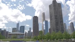 Onboard cruise boat shot of city skyline from Lake Michigan, Chicago, Illinois, United States of America, North America