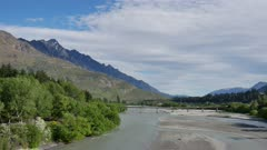 Old Lover Shotover Bridge, Queenstown offer 360 view of Shotover River include Remarkable Peak.