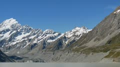 Mount Cook under blue sky bright sunny weather.