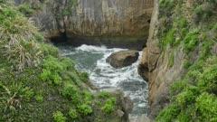 Natural rock and cliff formation at Punakaiki, New Zealand.