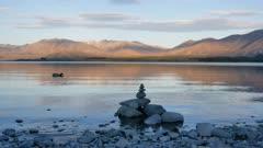 Mallard duck swim at the Lake Tekapo with zen stone