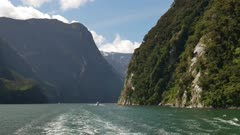 The ship sail at Milford Sound