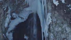 8k Yellowstone Winter Waterfall Close Up