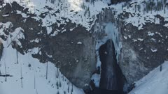 8k Winter Waterfall Close Up snow and ice