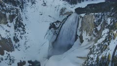 8k snowy Yellowstone canyon and river and waterfall