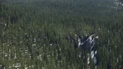 8k Aerial Yellowstone waterfall in forest