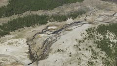 8k Aerial Yellowstone hot springs geyser basin