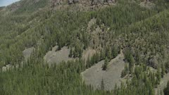 8k Aerial Yellowstone mountain and forest