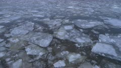 Drifting Ice on River, Close up View