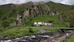 Ancient Fort Shatili in Mountains of Georgia  Caucasus.
