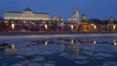Russia, Moscow, night view on Kremlin and river with drifting ice on a winter day