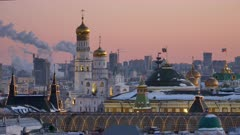 Russia, Moscow, view on Kremlin Palace on against sunset sky.