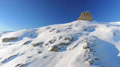 Mountain Peak and Ski Runs Aerial View