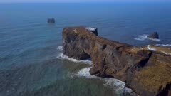 Dyrholaey Arch From the Air in Iceland